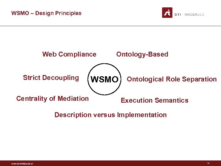 WSMO – Design Principles Web Compliance Strict Decoupling Centrality of Mediation Ontology-Based WSMO Ontological