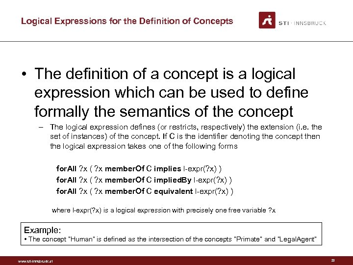 Logical Expressions for the Definition of Concepts • The definition of a concept is
