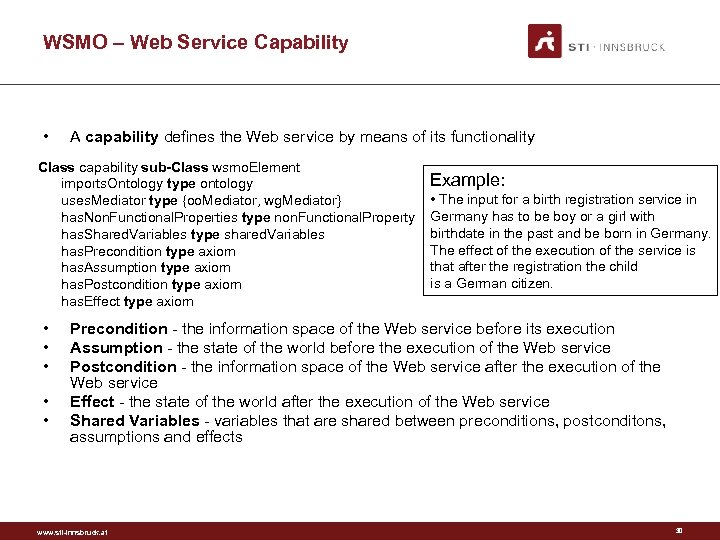 WSMO – Web Service Capability • A capability defines the Web service by means