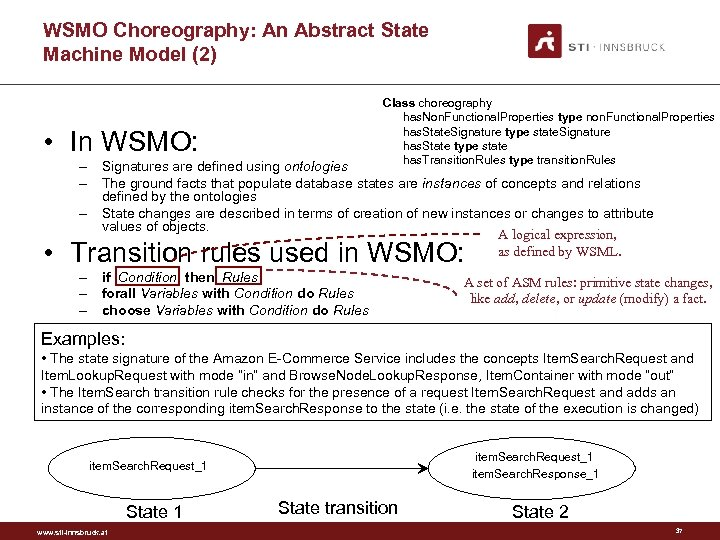 WSMO Choreography: An Abstract State Machine Model (2) Class choreography has. Non. Functional. Properties