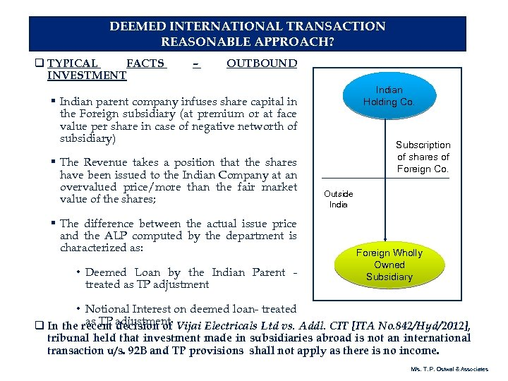 DEEMED INTERNATIONAL TRANSACTION REASONABLE APPROACH? q TYPICAL FACTS INVESTMENT – OUTBOUND Indian Holding Co.