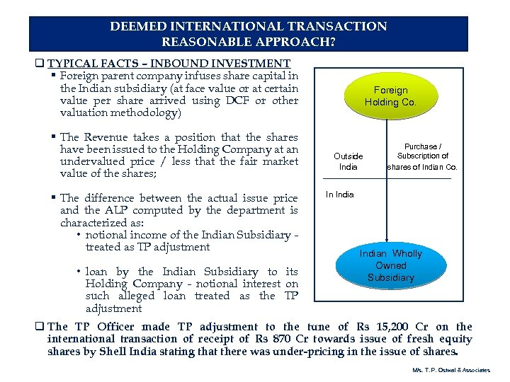DEEMED INTERNATIONAL TRANSACTION REASONABLE APPROACH? q TYPICAL FACTS – INBOUND INVESTMENT § Foreign parent