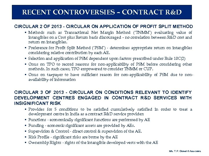 RECENT CONTROVERSIES – CONTRACT R&D CIRCULAR 2 OF 2013 - CIRCULAR ON APPLICATION OF
