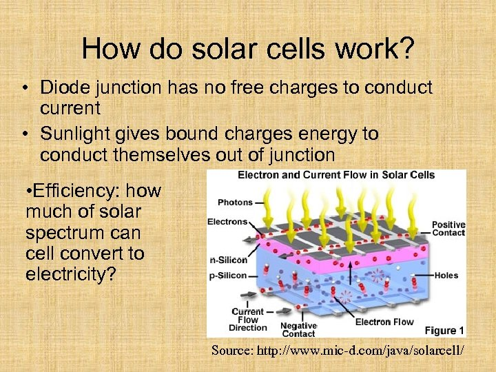 How do solar cells work? • Diode junction has no free charges to conduct