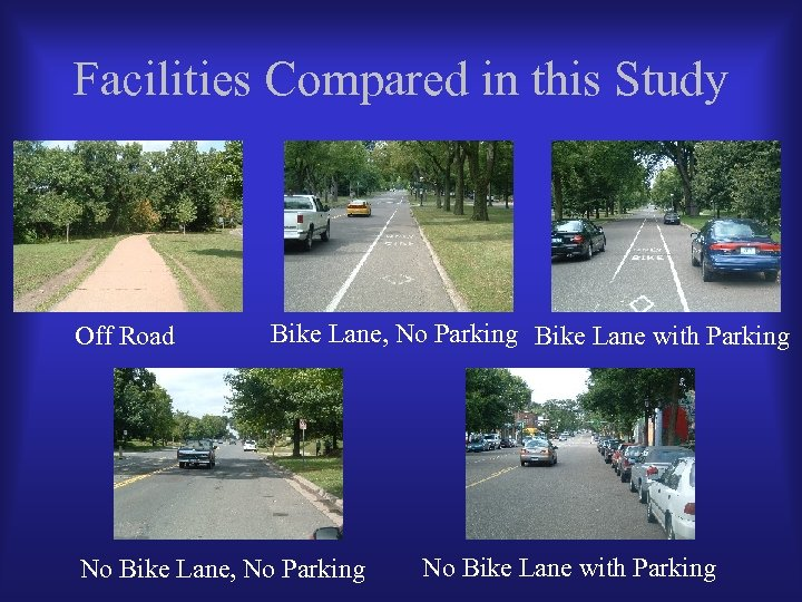 Facilities Compared in this Study Off Road Bike Lane, No Parking Bike Lane with