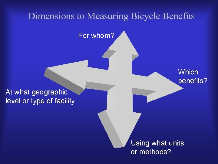 Dimensions to Measuring Bicycle Benefits For whom? Which benefits? At what geographic level or