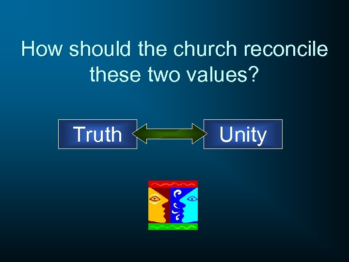 How should the church reconcile these two values? Truth Unity