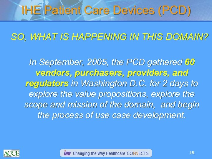 IHE Patient Care Devices (PCD) SO, WHAT IS HAPPENING IN THIS DOMAIN? In September,