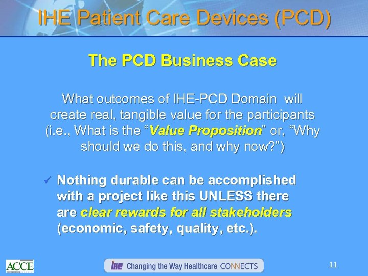 IHE Patient Care Devices (PCD) The PCD Business Case What outcomes of IHE-PCD Domain