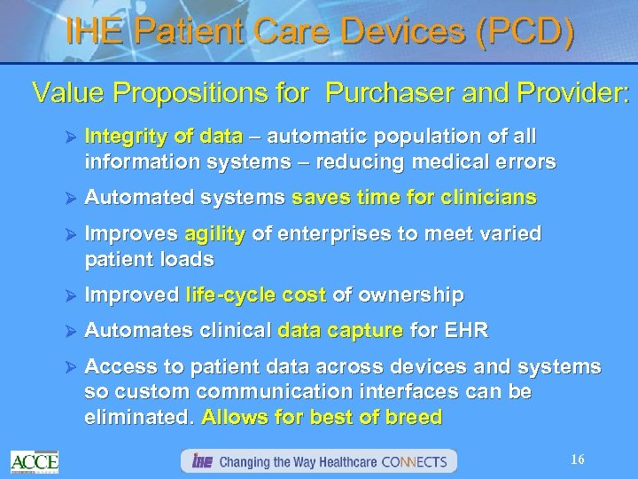 IHE Patient Care Devices (PCD) Value Propositions for Purchaser and Provider: Ø Integrity of