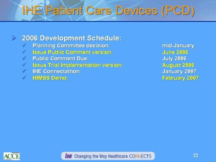 IHE Patient Care Devices (PCD) Ø 2006 Development Schedule: ü ü ü Planning Committee