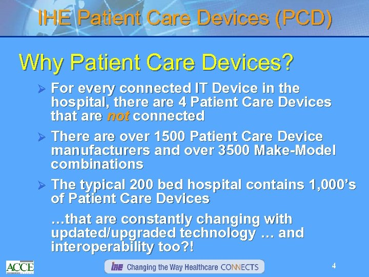 IHE Patient Care Devices (PCD) Why Patient Care Devices? For every connected IT Device