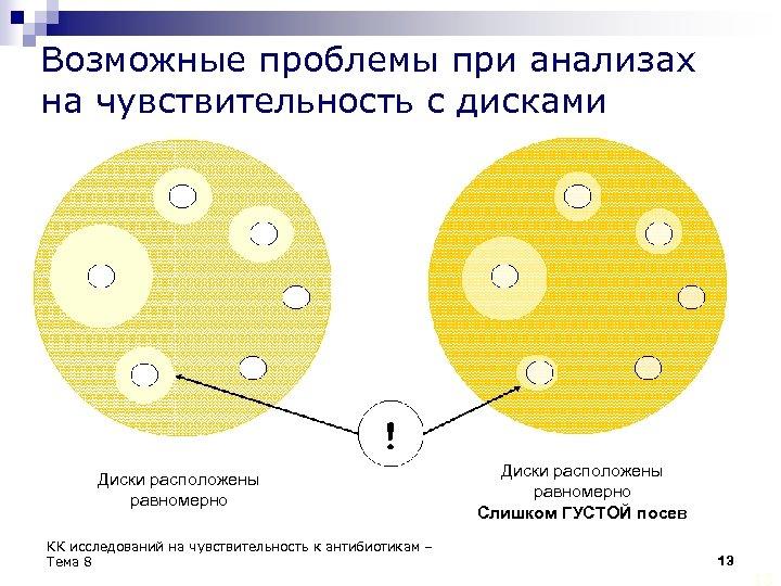 Возможные проблемы при анализах на чувствительность с дисками Диски расположены равномерно КК исследований на