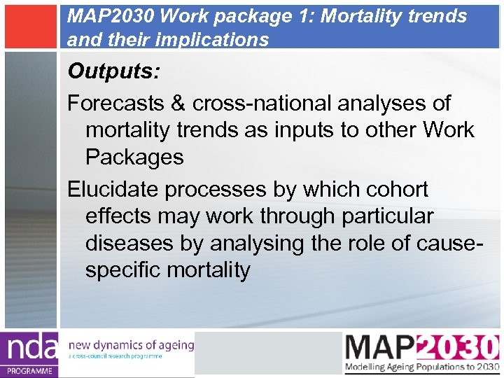 MAP 2030 Work package 1: Mortality trends and their implications Outputs: Forecasts & cross-national