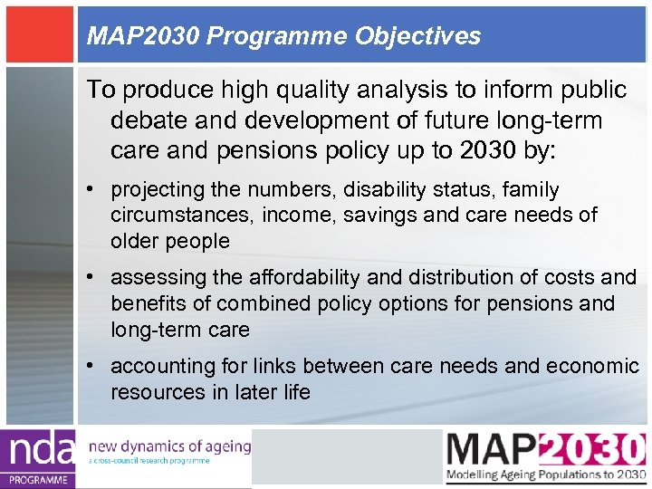 MAP 2030 Programme Objectives To produce high quality analysis to inform public debate and