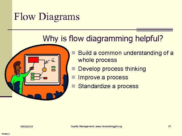 Flow Diagrams Why is flow diagramming helpful? n Build a common understanding of a