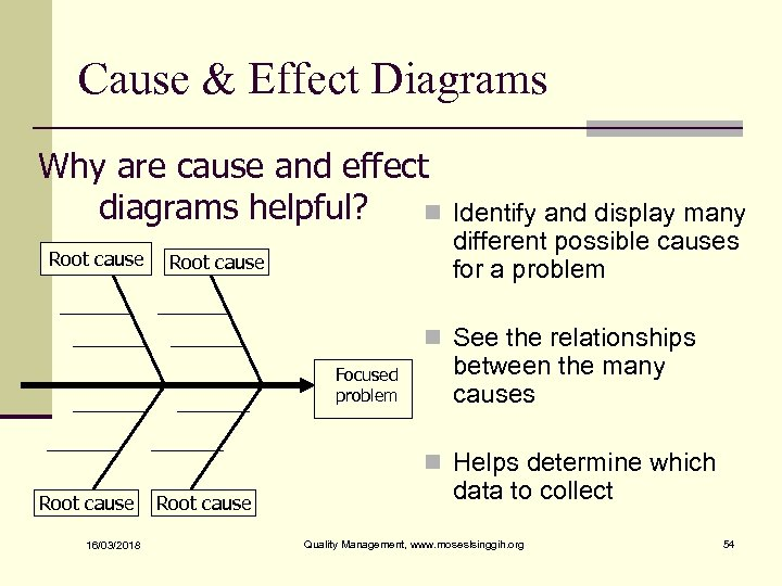 Cause & Effect Diagrams Why are cause and effect diagrams helpful? n Root cause