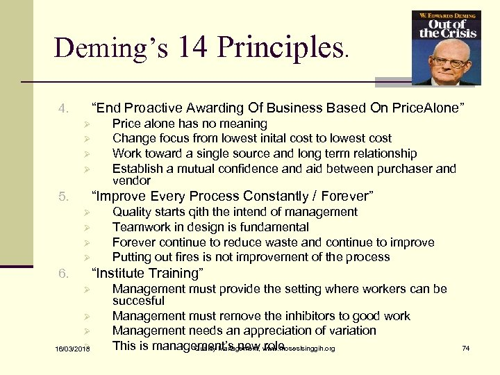 """Deming's 14 Principles. """"End Proactive Awarding Of Business Based On Price. Alone"""" 4. Ø"""