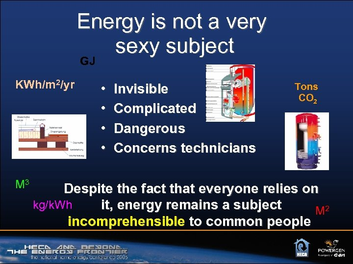Energy is not a very sexy subject GJ KWh/m 2/yr M 3 • •