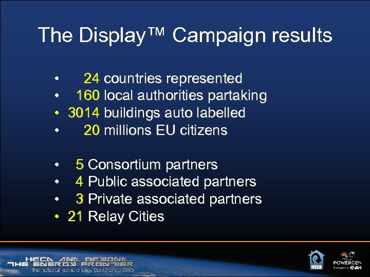 The Display™ Campaign results • 24 countries represented • 160 local authorities partaking •