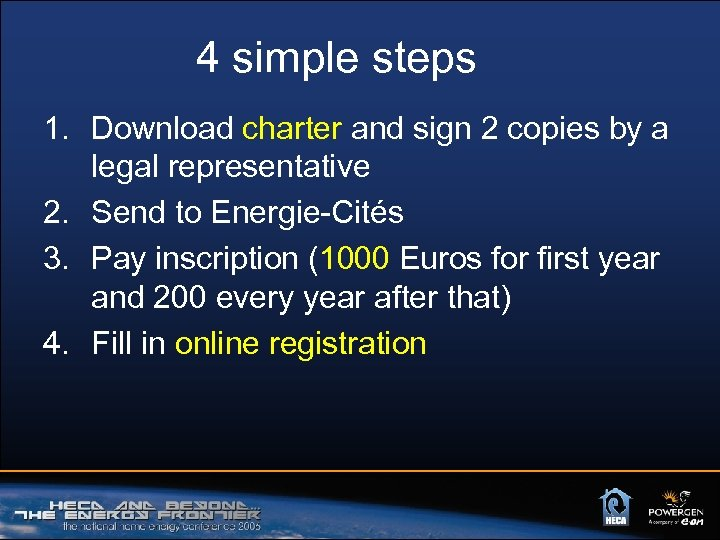 4 simple steps 1. Download charter and sign 2 copies by a legal representative