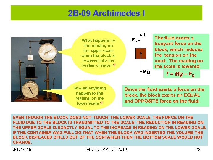 2 B-09 Archimedes I T FB What happens to the reading on the upper