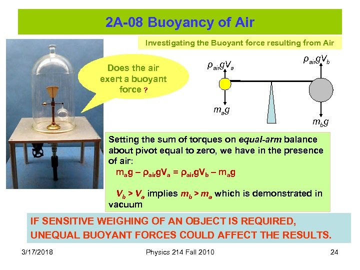 2 A-08 Buoyancy of Air Investigating the Buoyant force resulting from Air Does the
