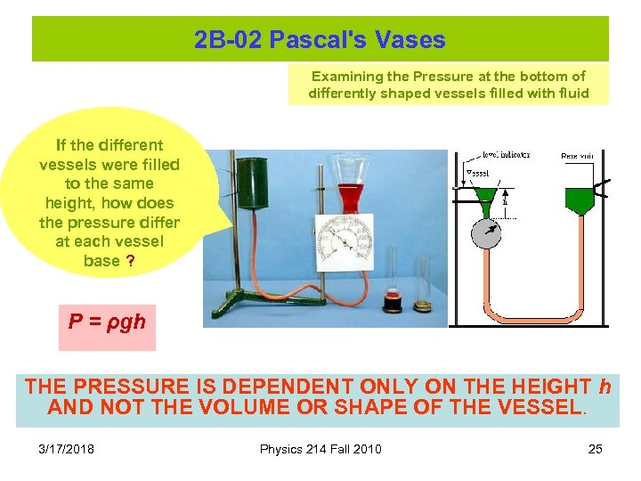 2 B-02 Pascal's Vases Examining the Pressure at the bottom of differently shaped vessels