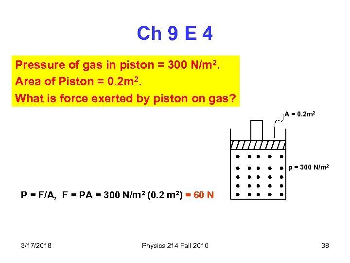Ch 9 E 4 Pressure of gas in piston = 300 N/m 2. Area