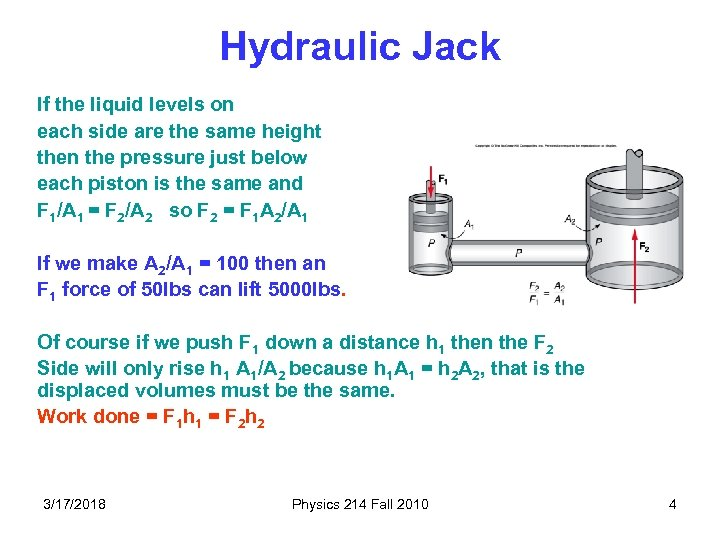Hydraulic Jack If the liquid levels on each side are the same height then