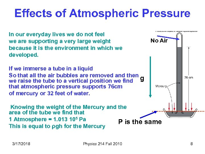 Effects of Atmospheric Pressure In our everyday lives we do not feel we are