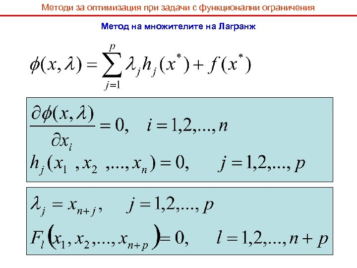 Методи за оптимизация при задачи с функционални ограничения Метод на множителите на Лагранж