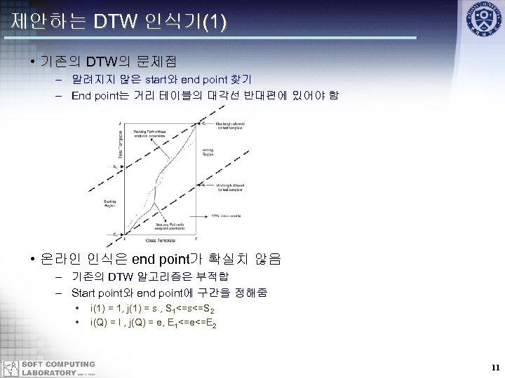 제안하는 DTW 인식기(1) • 기존의 DTW의 문제점 – 알려지지 않은 start와 end point 찾기