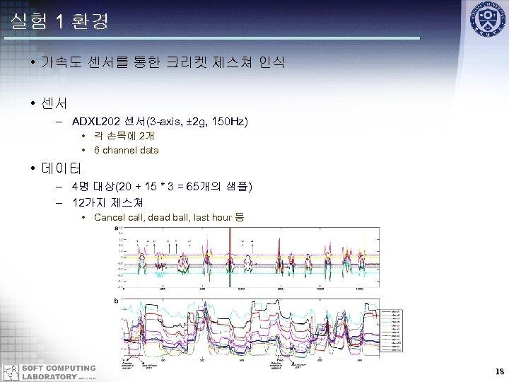 실험 1 환경 • 가속도 센서를 통한 크리켓 제스쳐 인식 • 센서 – ADXL