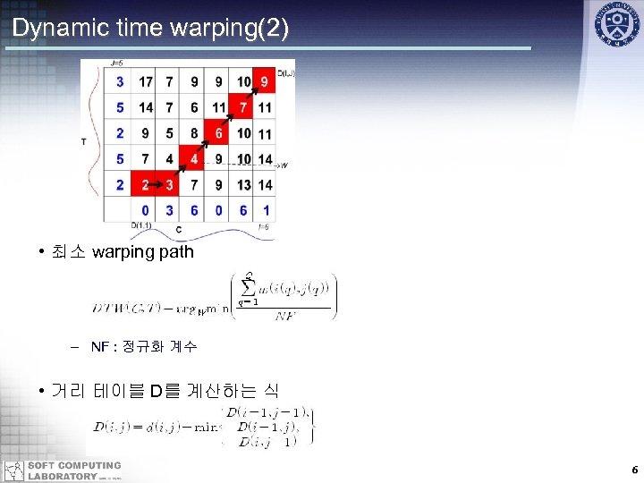 Dynamic time warping(2) • 최소 warping path – NF : 정규화 계수 • 거리