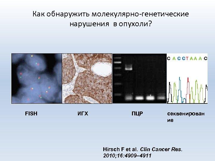 Как обнаружить молекулярно-генетические нарушения в опухоли? FISH ИГХ ПЦР секвенирован ие Hirsch F et