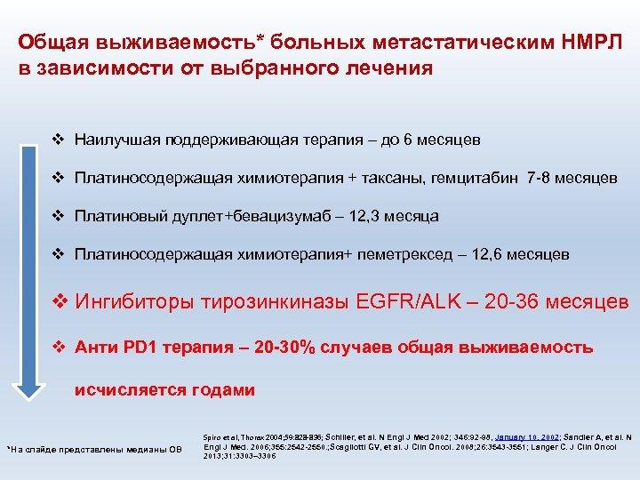 Общая выживаемость* больных метастатическим НМРЛ в зависимости от выбранного лечения v Наилучшая поддерживающая терапия