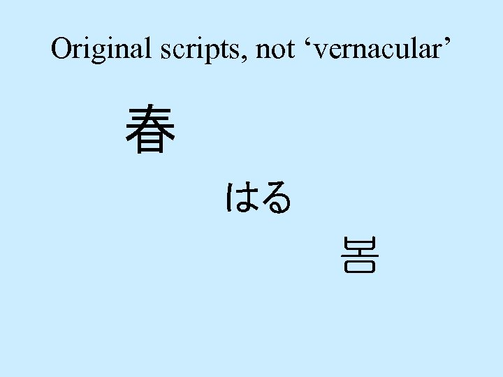Original scripts, not 'vernacular' 春 はる 봄
