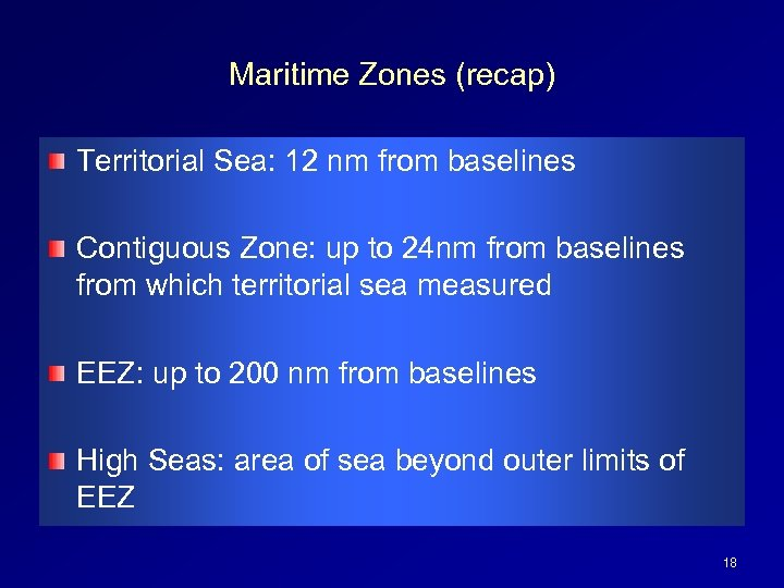 Maritime Zones (recap) Territorial Sea: 12 nm from baselines Contiguous Zone: up to 24