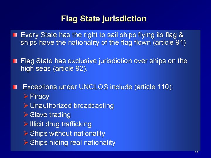 Flag State jurisdiction Every State has the right to sail ships flying its flag