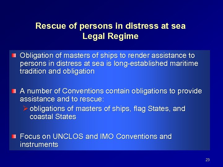 Rescue of persons in distress at sea Legal Regime Obligation of masters of ships
