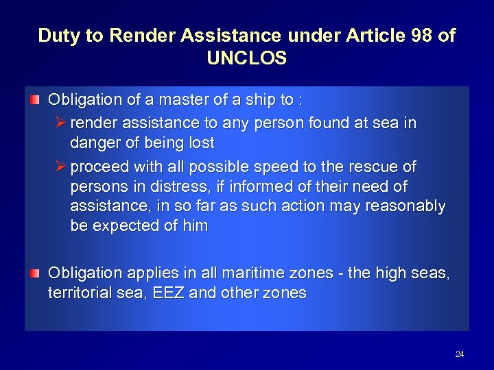 Duty to Render Assistance under Article 98 of UNCLOS Obligation of a master of