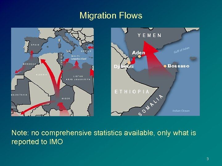 Migration Flows Note: no comprehensive statistics available, only what is reported to IMO 3