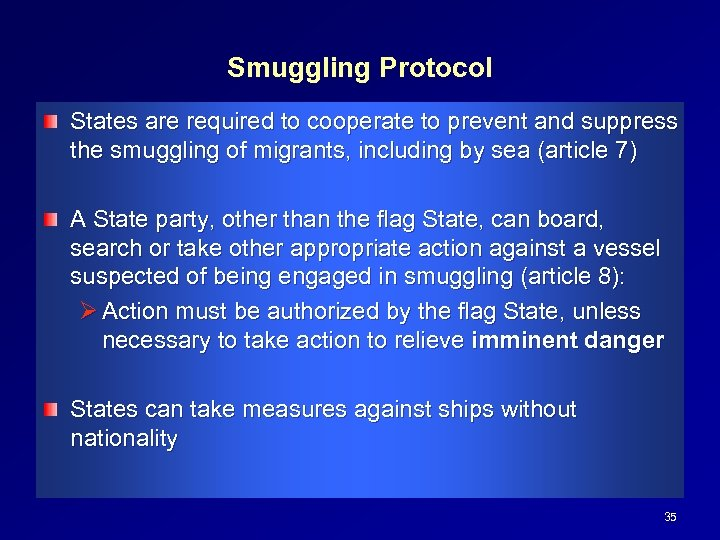 Smuggling Protocol States are required to cooperate to prevent and suppress the smuggling of