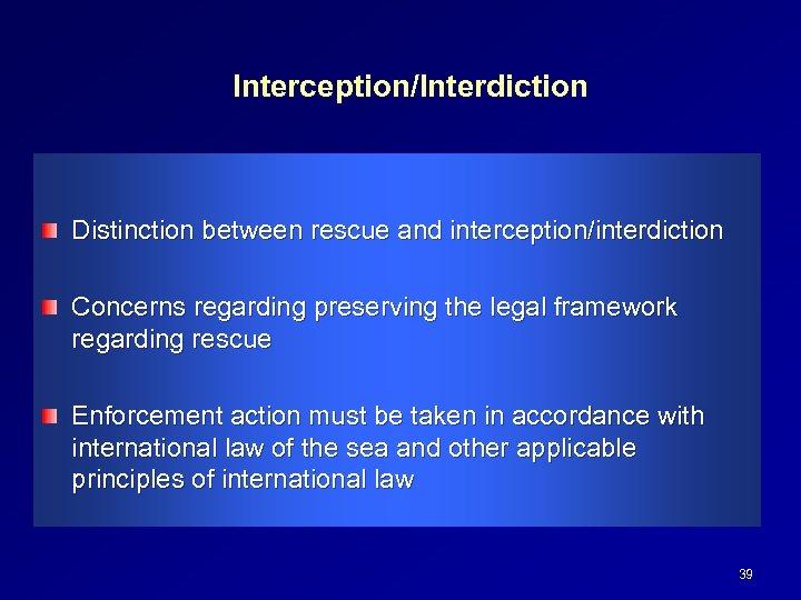 Interception/Interdiction Distinction between rescue and interception/interdiction Concerns regarding preserving the legal framework regarding rescue