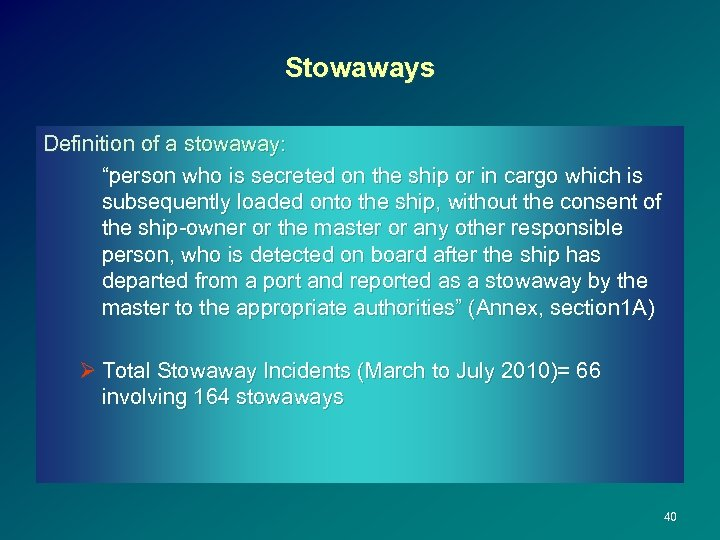 """Stowaways Definition of a stowaway: """"person who is secreted on the ship or in"""