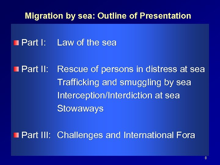 Migration by sea: Outline of Presentation Part I: Law of the sea Part II: