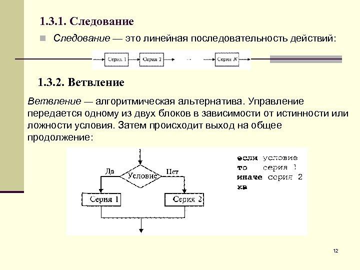 1. 3. 1. Следование n Следование — это линейная последовательность действий: 1. 3. 2.