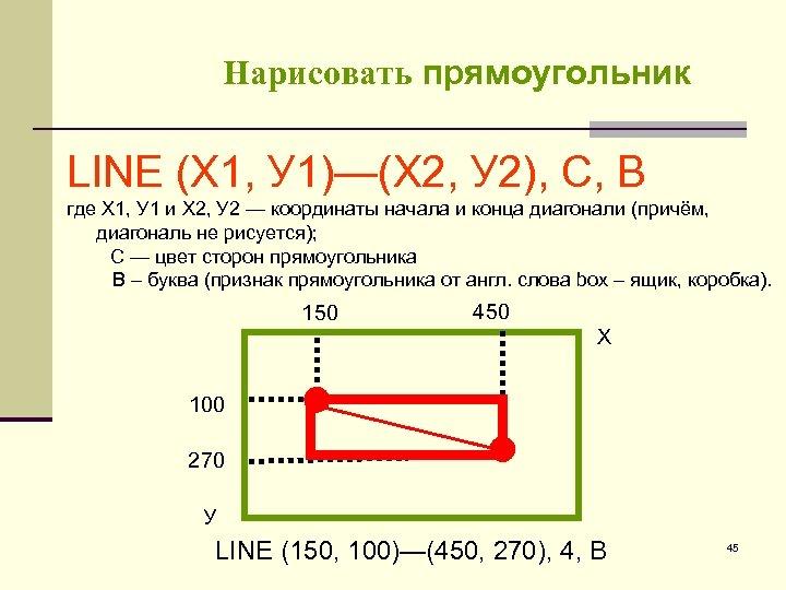 Нарисовать прямоугольник LINE (Х 1, У 1)—(Х 2, У 2), С, В где Х