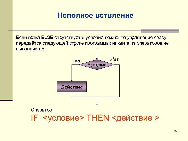 Неполное ветвление Если ветка ELSE отсутствует и условие ложно, то управление сразу передаётся следующей